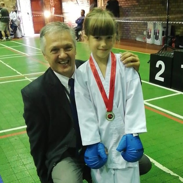 Sensei John Shaw with one of his pupils